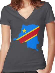 Congo Flag Map Women's Fitted V-Neck T-Shirt