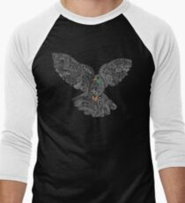 Typographic Peace Dove (black) Men's Baseball ¾ T-Shirt