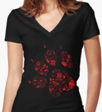 Naughty Dog - 30th Paw Women's Fitted V-Neck T-Shirt