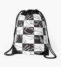 Kitchen Tools Check Drawstring Bag