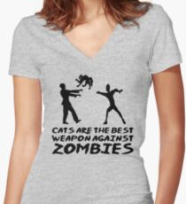 CATS ARE THE BEST WEAPON AGAINST ZOMBIES Women's Fitted V-Neck T-Shirt