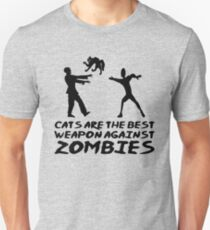 CATS ARE THE BEST WEAPON AGAINST ZOMBIES T-Shirt