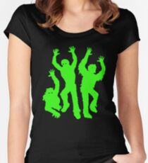 Crazy Neon Green Zombie Silhouettes Women's Fitted Scoop T-Shirt