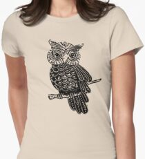 Cute Owl On Tree Women's Fitted T-Shirt