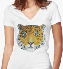 Leopard - Drawing Women's Fitted V-Neck T-Shirt