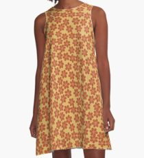 Spring Flowers in Orange and Yellow A-Line Dress