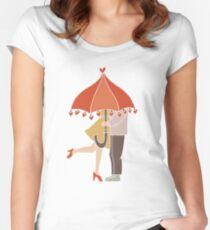 I Love You Couple Kissing Under Umbrella Women's Fitted Scoop T-Shirt