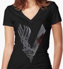 Vikings HD logo Women's Fitted V-Neck T-Shirt