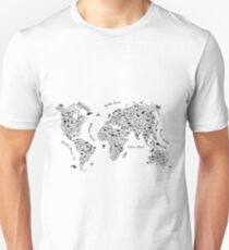 Typography World Map. Unisex T-Shirt