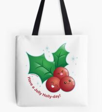 Cute Holiday Holly Tote Bag