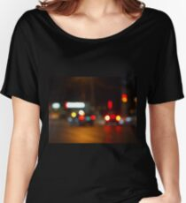 Defocused red and yellow lights on the night the traffic Women's Relaxed Fit T-Shirt