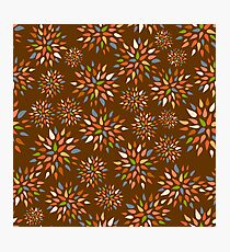 Abstract colorful flowers on brown background. Photographic Print