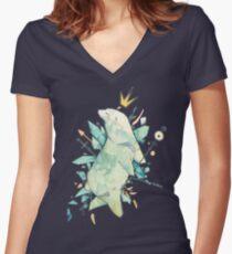 Polar bear king Women's Fitted V-Neck T-Shirt