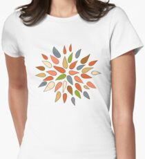 Abstract colorful flowers on brown background. T-Shirt