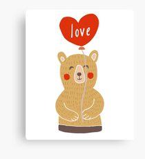 Cute Adorable Bear with Love Ballon Canvas Print