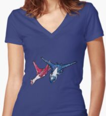 Latios and Latias Women's Fitted V-Neck T-Shirt