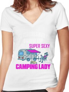 Cute I Never Dreamed I'd Grow Up To Be A Super Sexy Camping Lady Women's Fitted V-Neck T-Shirt