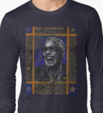 Ray Charles in Blue Long Sleeve T-Shirt