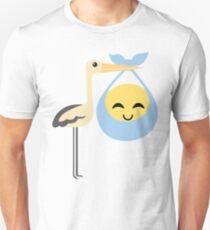 Stork with Baby Emoticon Emoji Cheerful with Joy T-Shirt