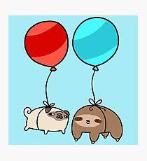 Balloon Sloth and Pug Photographic Print