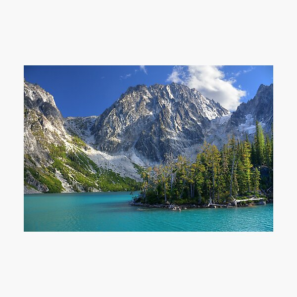 Dragontail Peak over Colchuck Lake, Washington Photographic Print