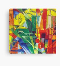 Franz Marc - Landscape With House, Dog and Cow- Expressionism Canvas Print
