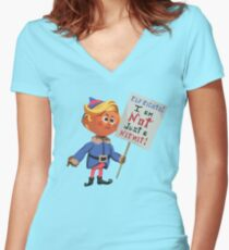 Hermey the Elf Protesting Elf Rights Women's Fitted V-Neck T-Shirt
