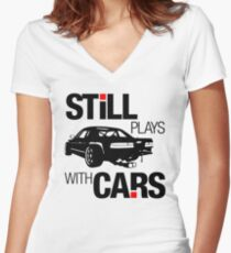 Still plays with cars (1) Women's Fitted V-Neck T-Shirt
