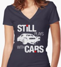 Still plays with cars (2) Women's Fitted V-Neck T-Shirt