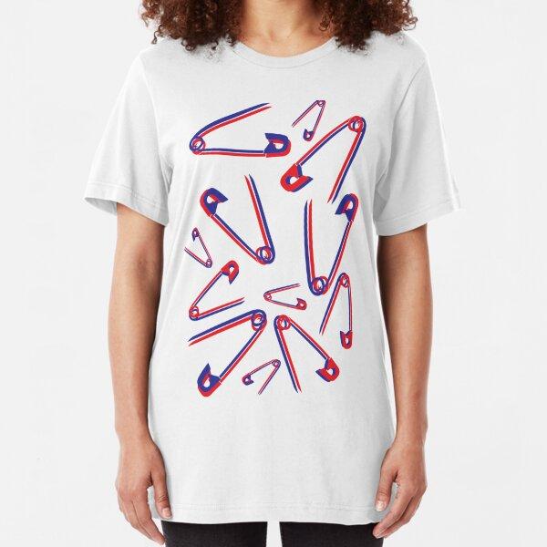 Fun Fake 3D safety pin pattern Slim Fit T-Shirt