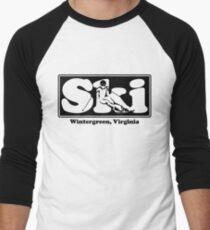 Wintergreen, Virginia SKI Graphic for Skiing your favorite mountain, city or resort town Men's Baseball ¾ T-Shirt