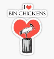 I Love Bin Chickens Sticker