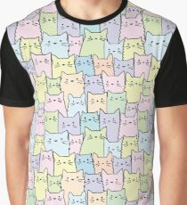 Silent Cats Pastel Graphic T-Shirt