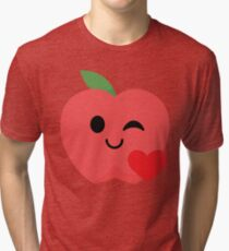 Apple Emoji Flirt and Blow Kiss Tri-blend T-Shirt