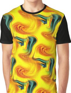 Abstract Shades Of Blue And Yellow Design Graphic T-Shirt