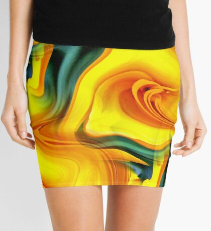 Abstract Shades Of Blue And Yellow Design Mini Skirt
