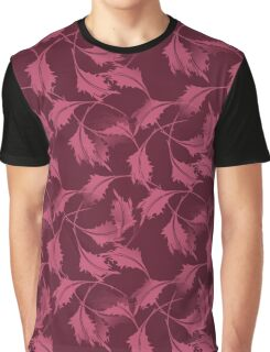 Falling Autumn Leaves In Plum Graphic T-Shirt