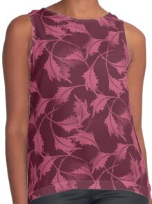 Falling Autumn Leaves In Plum Contrast Tank