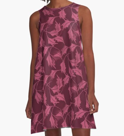 Falling Autumn Leaves In Plum A-Line Dress