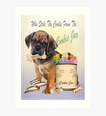 Puggle Stole Cookie From The Cookie Jar Art Print