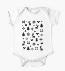 Pixel Pattern - Winter Forest - Black and White One Piece - Short Sleeve