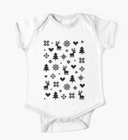 Pixel Pattern - Winter Forest - Black and White Vêtement enfant