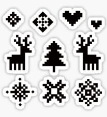 Pixel Pattern - Winter Forest - Black and White Sticker