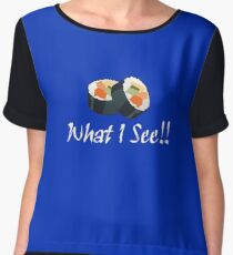 You See What I See? I LOVE SUSHI! T-Shirt Sticker Chiffon Top