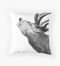 Red Deer Roar Throw Pillow