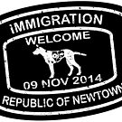 Republic of Newtown - 2014: Sticker White on Black by Ethel Yarwood