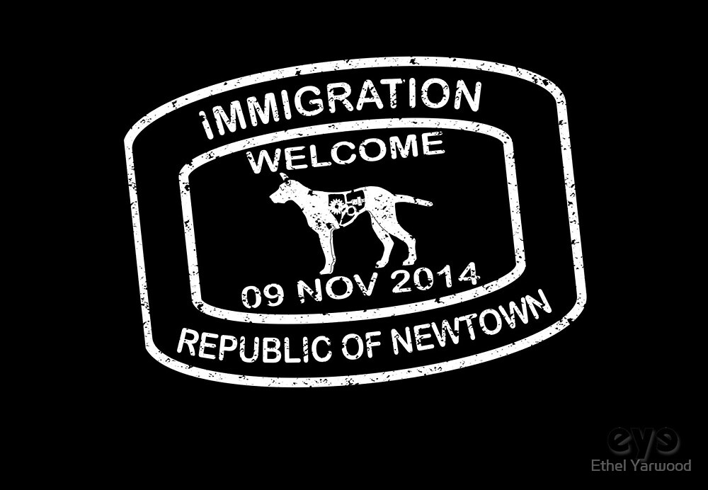 Republic of Newtown - 2014: White on Black by Ethel Yarwood