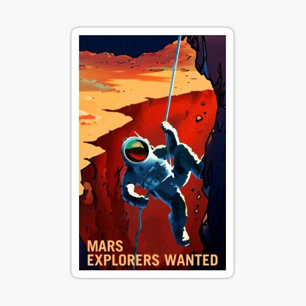 "Vintage ""Explorers Wanted"" Mars Recruitment Sticker"