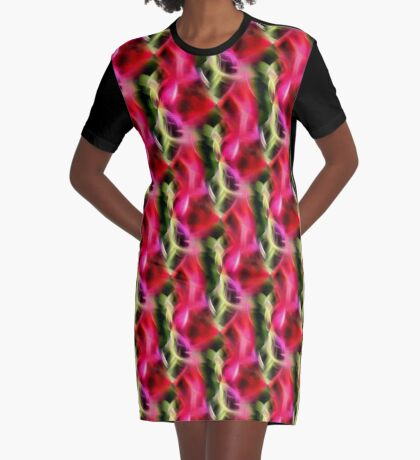 Abstract Red Pink And Green Design Graphic T-Shirt Dress