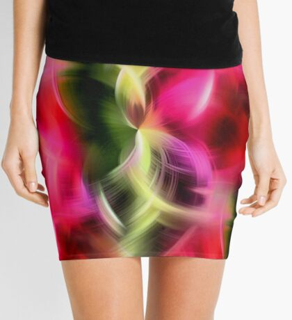 Abstract Red Pink And Green Design Mini Skirt